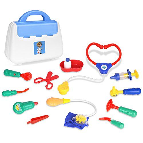 Medical Kits Pretend Play, Zooawa Doctor and Nurse Set Role Play Toy with Handy Carrying Case for Boys and Girls, Kids and Toddlers over 3 Years Old, Colorful:   Package Include:/bbr &#8226Blood Pressure Gauge with Pointerbr &#8226Knee Jerk Hammer br &#8226Stethoscope with Heartbeat Sound br &#8226Medical Scissors br &#8226Otoscope with Light br &#8226Injection Syringe with Sound br &#8226Tweezers br &#8226Meidicine Bottle and Traybr &#8226Dental Mirror with Light br &#8226Scalpel br &...