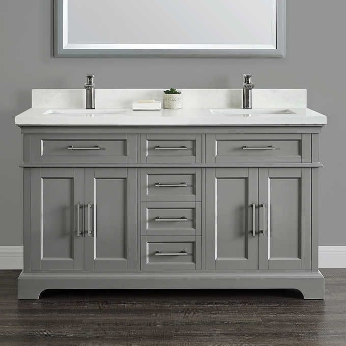 Cameron 60 Double Sink Vanity By Mission Hills Costco Double Sink Vanity Double Vanity Bathroom Vanity Sink