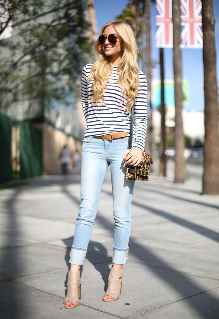 AngelFoodStyle + striped tee + light wash jeans + taupe peep toe booties | Fashion | Pinterest ...