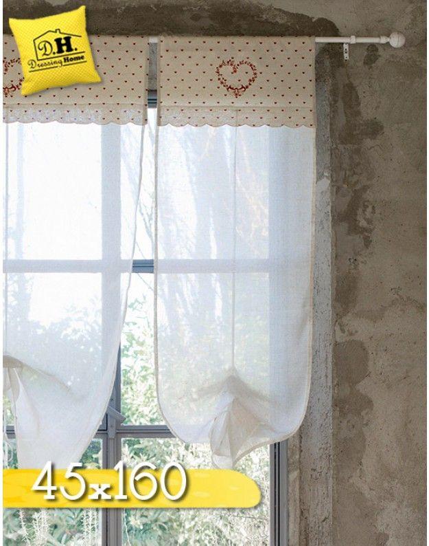 Tenda finestra Country chic Blanc Mariclo 45 x 160 cm Colore Beige / Rosso