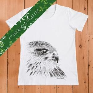 Hand screen printed Karearea/NZ Falcon t-shirt