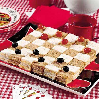 Game Night food idea-checker board sandwiches.  Yummy!