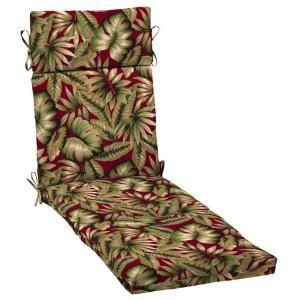 Hampton Bay Chili Tropical Outdoor Chaise Lounge Cushion-AB80853X-9D1 at The Home Depot