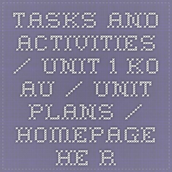 Tasks and activities / Unit 1 Ko au / Unit plans / Homepage - He reo tupu, he reo ora