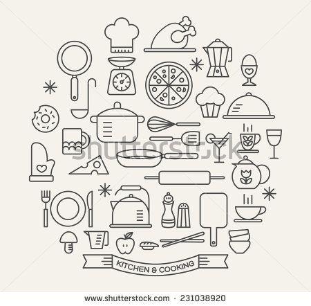 Gosto da Linguagem Cooking Foods and Kitchen outline icons set