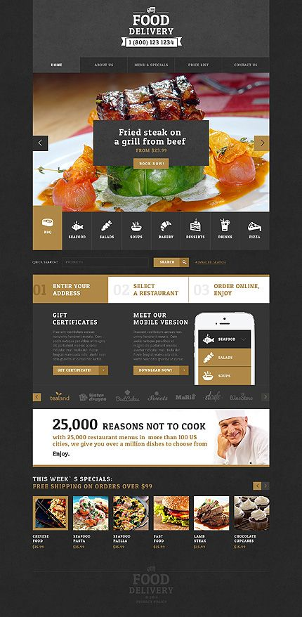 Template 48620 - Food Delivery Responsive Website Template