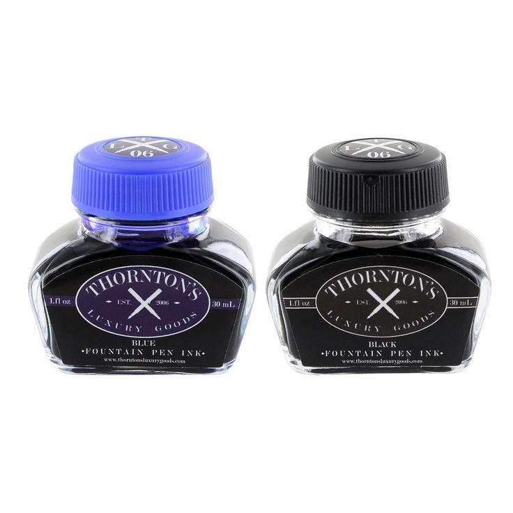 Thornton's Luxury Goods Fountain Pen Ink Bottle, 30ml - Black & Blue - Set of 2 #ThorntonsLuxuryGoods