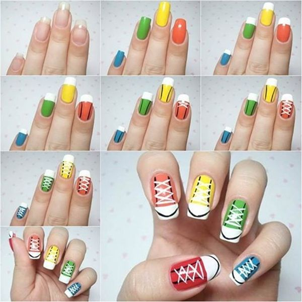 Sneakers nail art, so creative !  Instructions--> http://wonderfuldiy.com/wonderful-diy-cool-sneakers-nail-art/