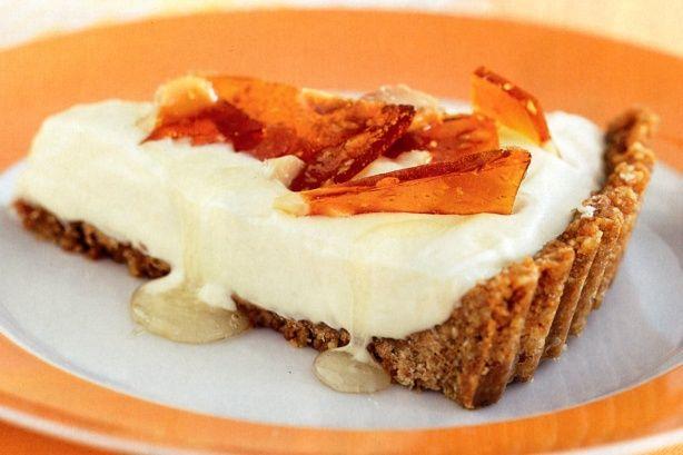 Anzac tart with macadamia praline and cinnamon syrup main image