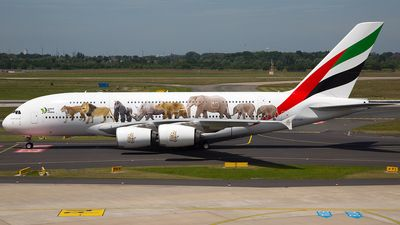 Emirates (AE) Airbus A380-861 A6-EOM aircraft, painted in ''United for Wildlife'' special colours Apr. 2016, skating at Germany Dusseldorf International Airport. 10/06/2016.