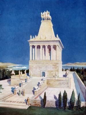 What Was the Mausoleum at Halicarnassus?: The Mausoleum of Halicarnassus, one of the Seven Wonders of the Ancient World. A print from Wonders of the Past, Volume I, 1933-1934.