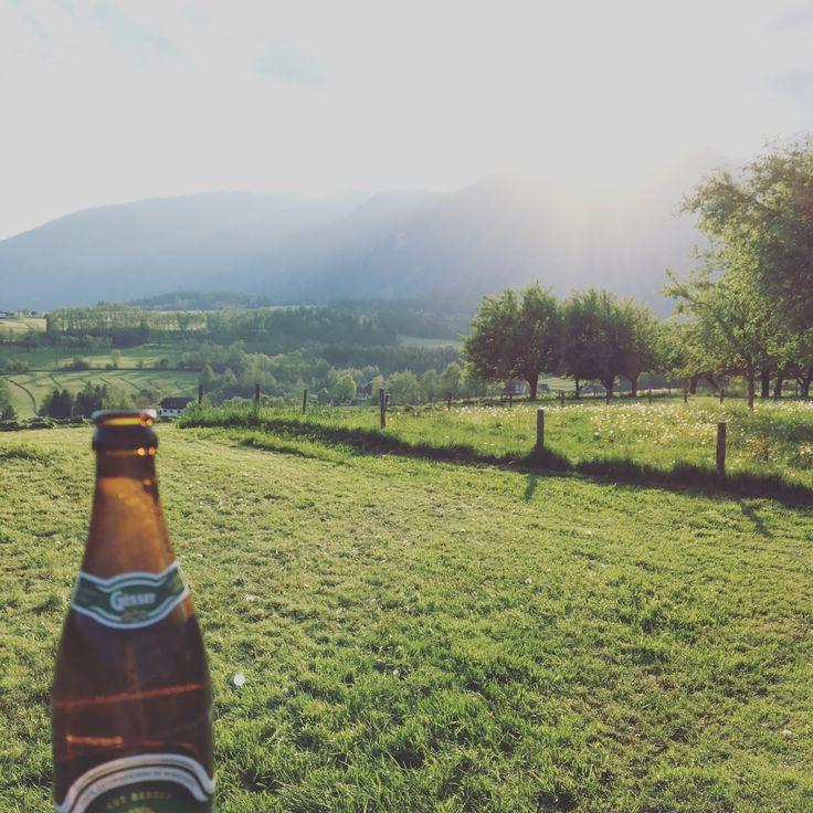 Feierabend in der Steiermark mit einem Gösser Bier!