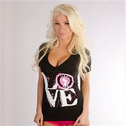 women mixed martial arts www.fightchix.com, LOVE Black V-neck, Women's MMA Clothing, Women's UFC Clothing,