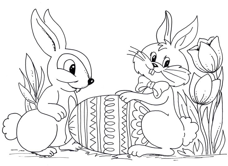 Easter Rabbit Coloring Pages For Kids Free Printable