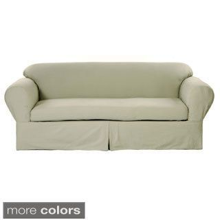 Classic Two-piece Twill Loveseat Slipcover | Overstock.com Shopping - The Best Deals on Loveseat Slipcovers
