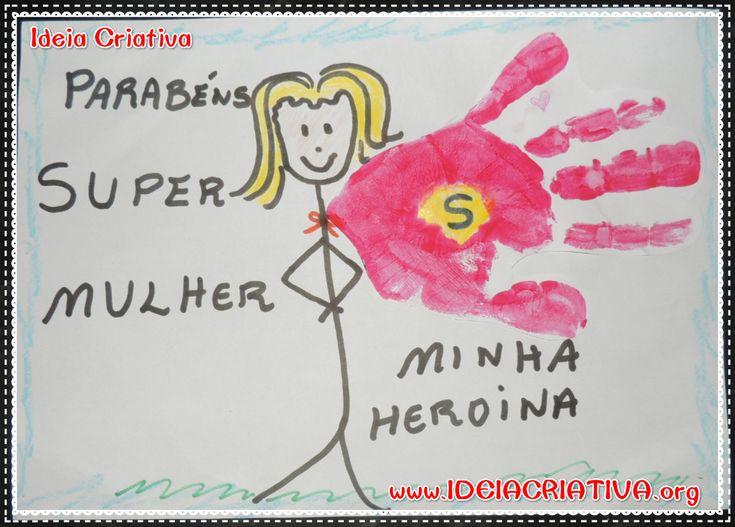 Atividade Dia da Mulher com Carimbo de Mãos Super Mulher