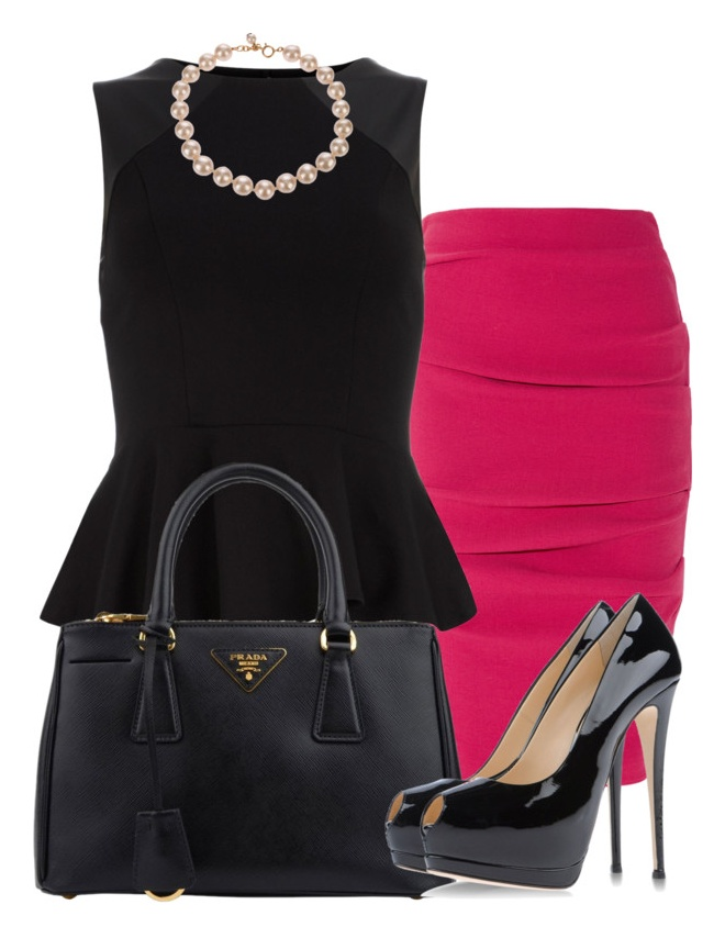 """""""peplum and pearls"""" by lulu-belle-love on Polyvore"""