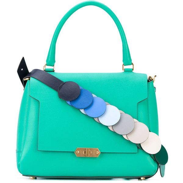 Anya Hindmarch contrast strap tote (3,265 BAM) ❤ liked on Polyvore featuring bags, handbags, tote bags, green, green tote, blue purse, tote purses, green tote bag and anya hindmarch tote