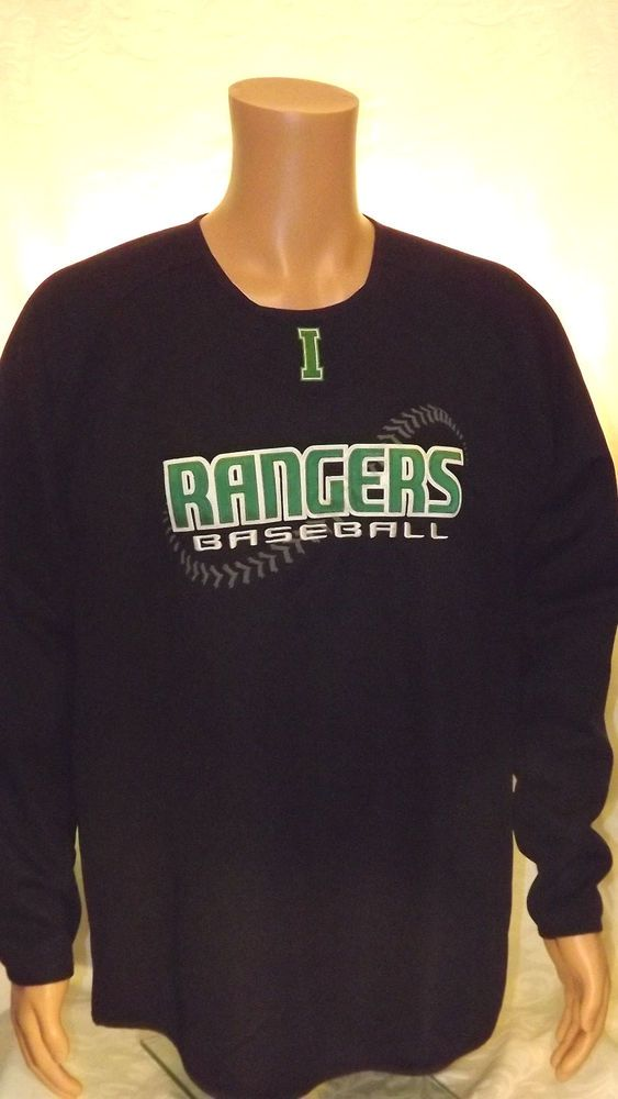 Rangers Baseball X-Grain Sportwear Black Long Sleeve Shirt Men's Large Polyester #XGrain