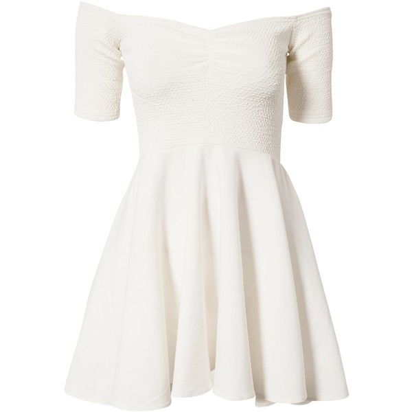John Zack Off Shoulder Shift Dress ($18) ❤ liked on Polyvore featuring dresses, vestidos, short dresses, robe, white, party dresses, white shift dress, white mini dress, white skater skirt and white circle skirt
