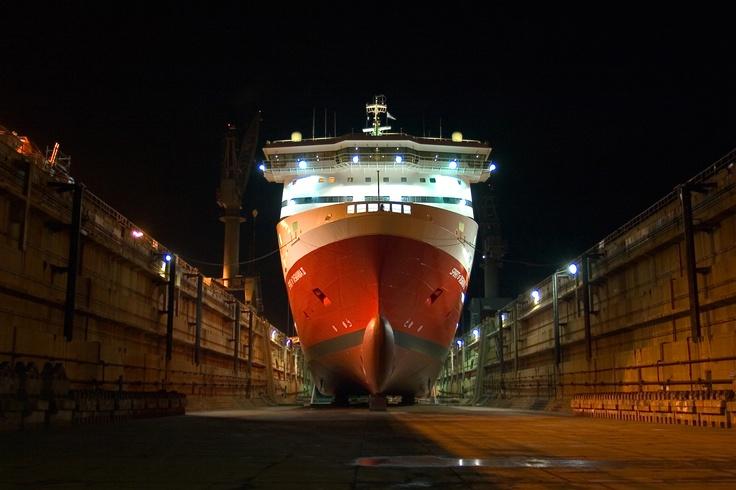 Spirit I in dry dock at night
