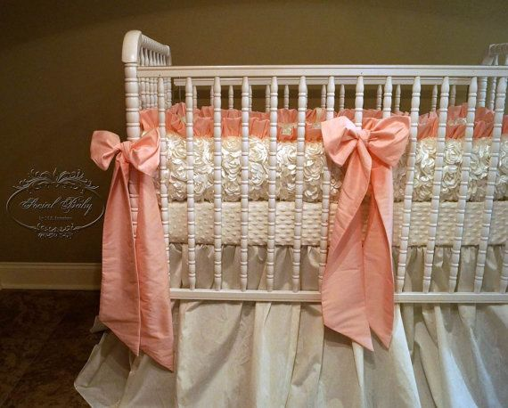 Crib Bedding in Ivory Rosettes and Big Pink by SocialBabyBedding