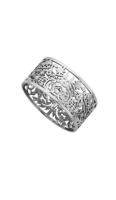 Wide Filigree Bangle Silver