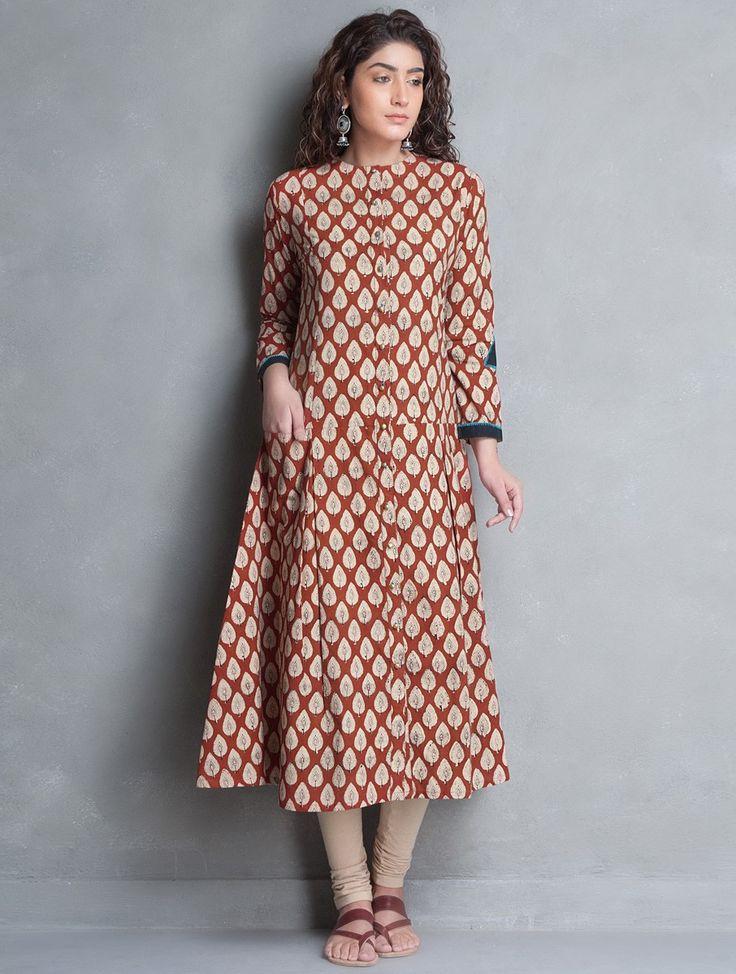 Buy Red Beige Bagru Printed Kalidar Cotton Kurta Apparel Tunics & Kurtas Banjara Collection Inspired by Tribes Online at Jaypore.com