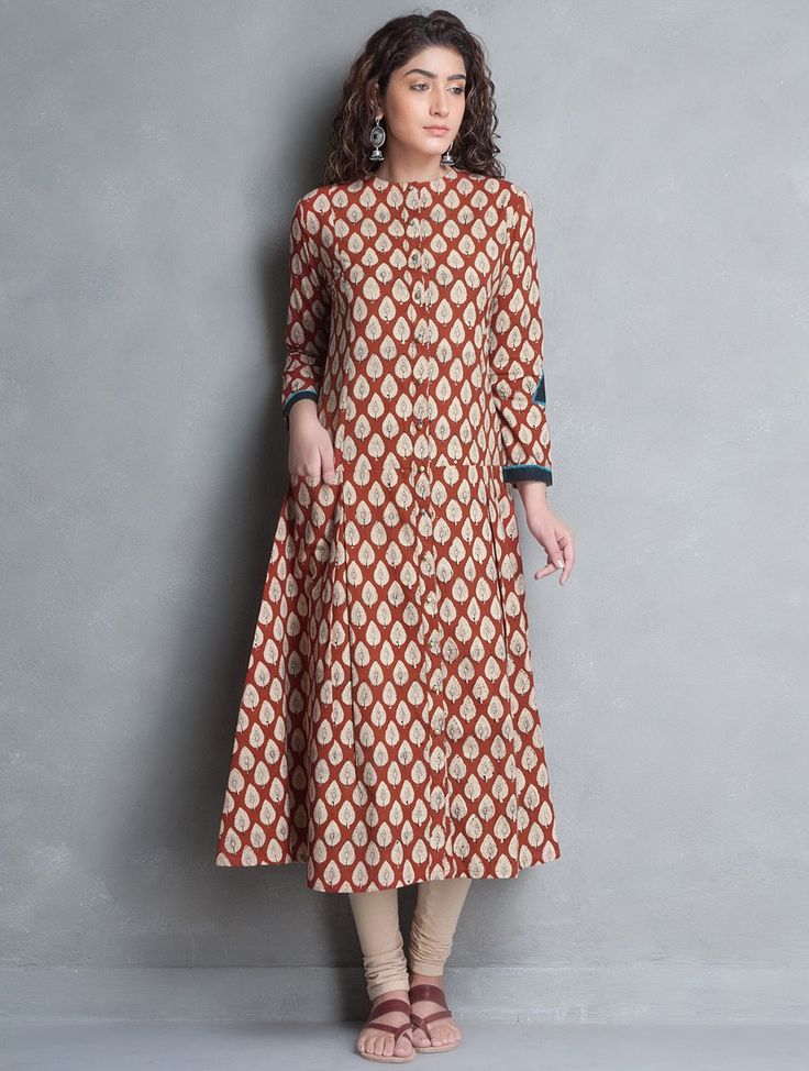 Buy Red Beige Bagru Printed Kalidar Cotton Kurta Apparel Tunics & Kurtas Banjara Collection Inspired by Tribes Online at Jaypore.com