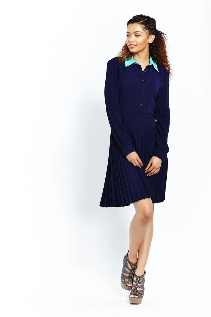 Navy Contrast Collar Shirt Dress - Women's Dresses Online.