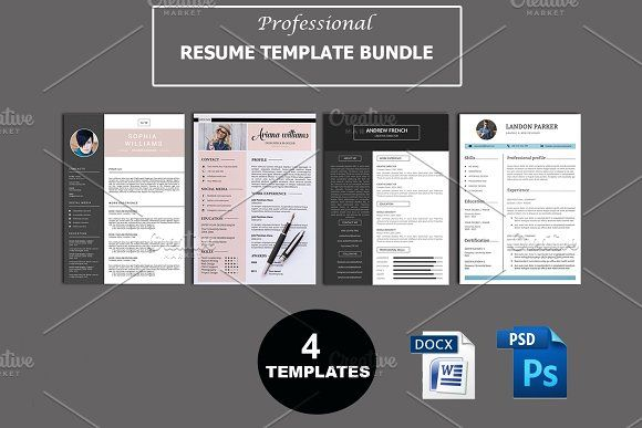 Professional Resume Bundle V44 by Template Shop on @creativemarket