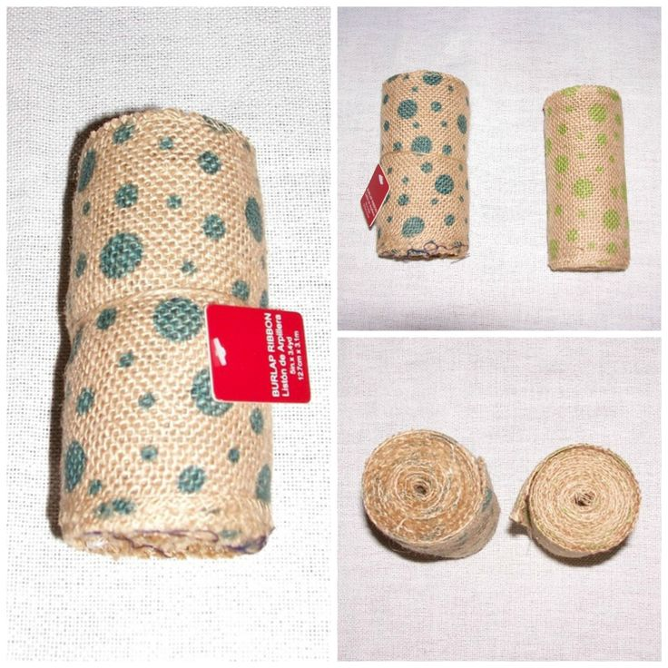 """Burlap Ribbon 5"""" Wide Teal Green Polka Dot Burlap Ribbons 6+ Yards, Craft Supply by SheCollectsICreate on Etsy"""