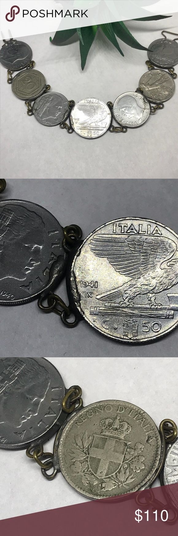 "Vintage Italy 🇮🇹 1909 silver coin bracelet Heritage piece for Italy/Italians. Unique vintage artisan silver coin bracelet. Coins are dated 1941, 1918, 1940, 1941, 1942, 1909, 1940. Pic next to US dime for comparison. Very well made. Simple hook closure. 7 3/4"" A perfect gift for those people who have everything but Are proud of their Italian heritage Vintage Jewelry Bracelets"