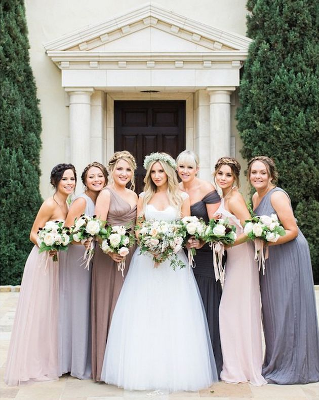 Ashley Tisdale's bridesmaids (including Vanessa Hudgens) wore shades of pink and lavender
