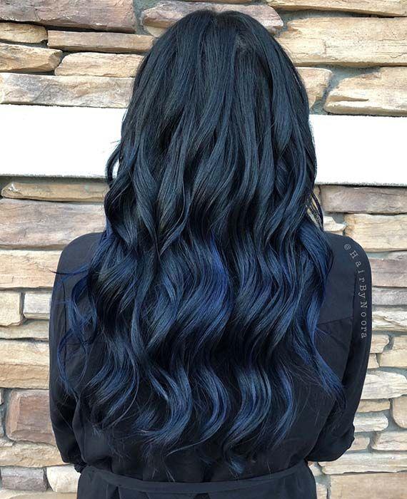 22 Fabulous Blue Black Hair Color Ideas In 2019 Siyah Renkli Sac Mavi Sac Renkleri Uzun Sac