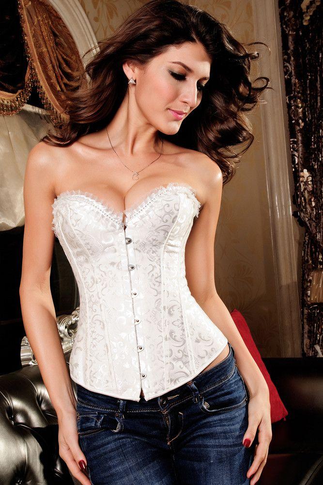 Corsets Strass Embellissement Brocade Corset Blanc Pas Cher www.modebuy.com @Modebuy #Modebuy #Blanc #me #prixdegros