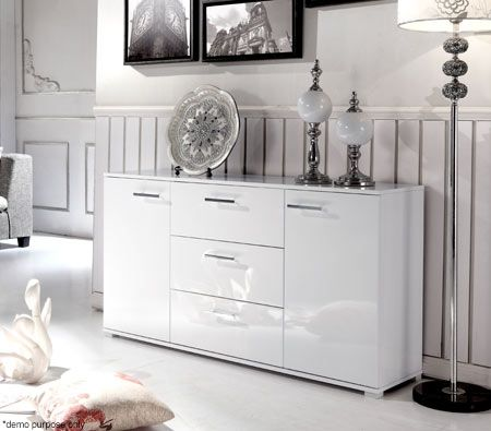 White 2 Door 3 Drawer Buffet Cabinet | Crazy Sales