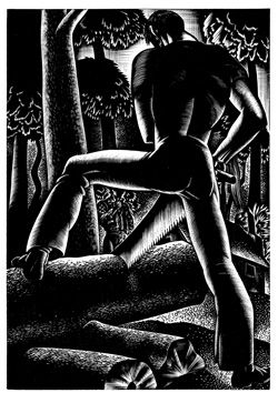 "The Sturm und Drang moralism of Lynd Ward' amazing six novels in woodcuts - above from ""Wild Pilgrimage"""