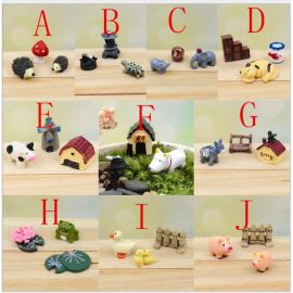 30 pieces 10 set lovely mini animals miniatures plants fairy garden gnome