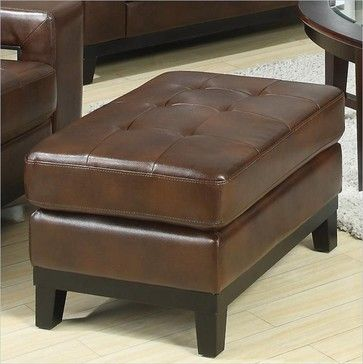 """Coaster Paige Leather Ottoman in Brown - transitional - ottomans and cubes - cymax, $170, 30x22"""" for guesthouse"""