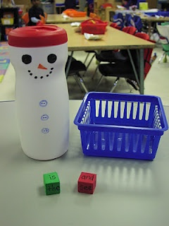 Snowman Shake: put foam dice with letters or words in the snowman, shake, roll them into the basket, and record. Use with sight words, letter recognition, or numbers.