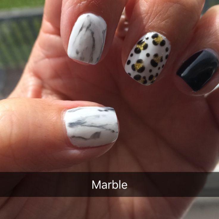Marble & gold leopard print gelish gel nails