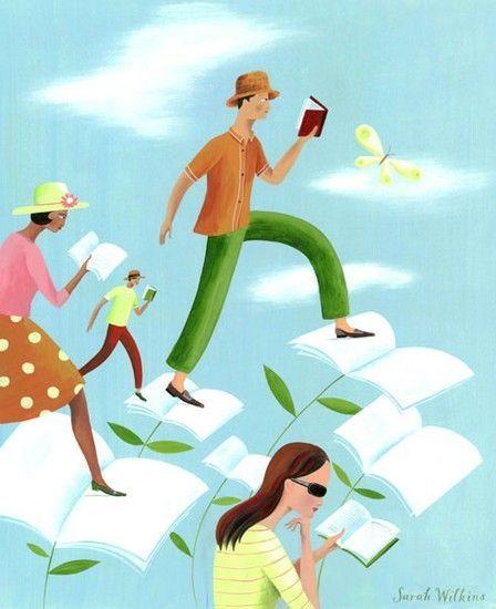 En primavera… revoloteamos con la lectura (ilustración de Sarah Wilkins) #biblioteques_UVEG