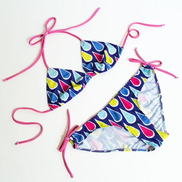 Nähanleitung und kostenloses Schnittmuster für einen Triangel-Bikini   DIY-tutorial & sewing pattern for a womens' bikini by pattydoo