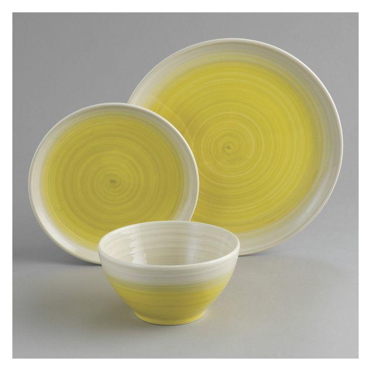 ATKINSON 12-piece yellow dinnerware set | Buy now at Habitat UK