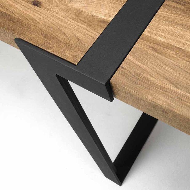 Design Esstisch GIGANT 290x100cm Wildeiche Stahl Pickupmöbel.de