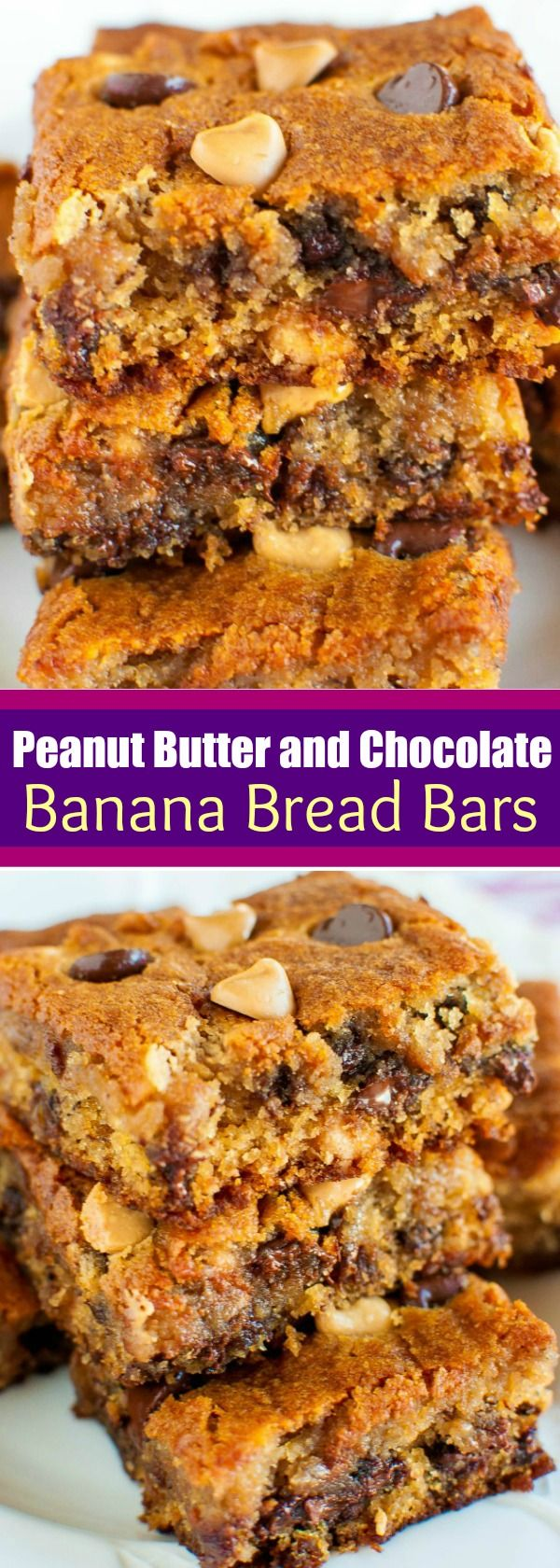 Peanut Butter Chocolate Chip Banana Bars