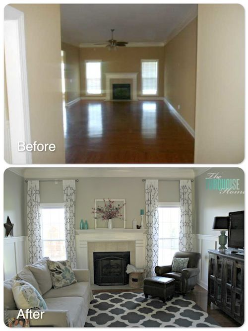 Lovely~~~~~   The Turquoise Home. Details and Resources at: http://theturquoisehome.com/2013/04/living-room-makeover-part-7-final-reveal/....paint color:  Revere Pewter - Benjamin Moore.  Color matched to Lowe's paint and primer in 1 --- eggshell finish.