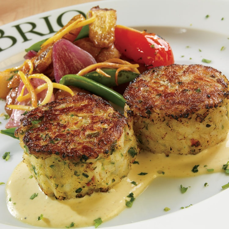 BRIO Crab & Shrimp Cakes- Lump crab and Gulf shrimp cakes with roasted vegetables and creamy horseradish