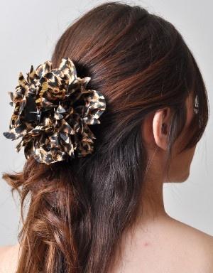 Leopard Print Flower Claw Hair Clip